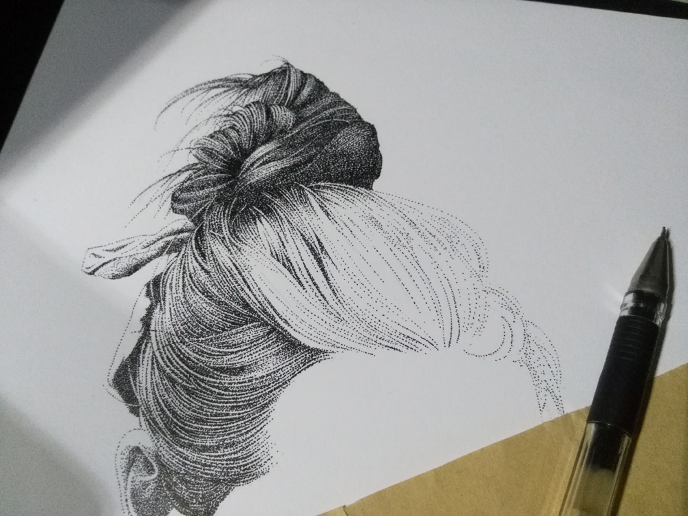 用马克笔画的素描(点画法)